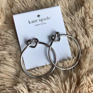 NWT kate spade loves me knot hoop earrings silver